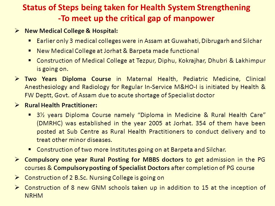  New Medical College & Hospital:  Earlier only 3 medical colleges were in Assam at Guwahati, Dibrugarh and Silchar  New Medical College at Jorhat & Barpeta made functional  Construction of Medical College at Tezpur, Diphu, Kokrajhar, Dhubri & Lakhimpur is going on.