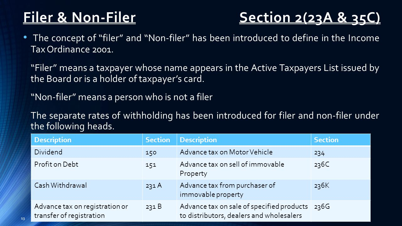 Filer & Non-Filer The concept of filer and Non-filer has been introduced to define in the Income Tax Ordinance 2001.