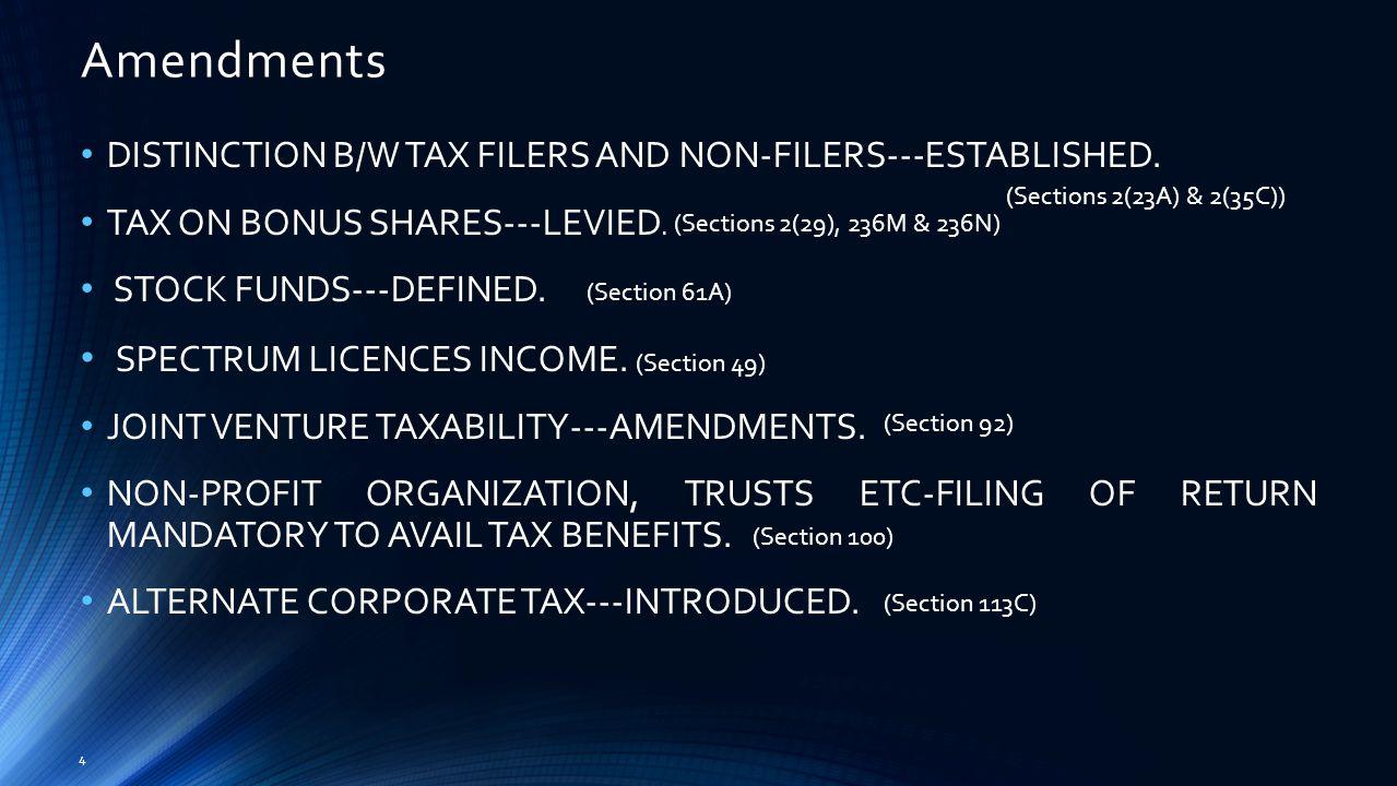 Amendments 4 DISTINCTION B/W TAX FILERS AND NON-FILERS---ESTABLISHED.