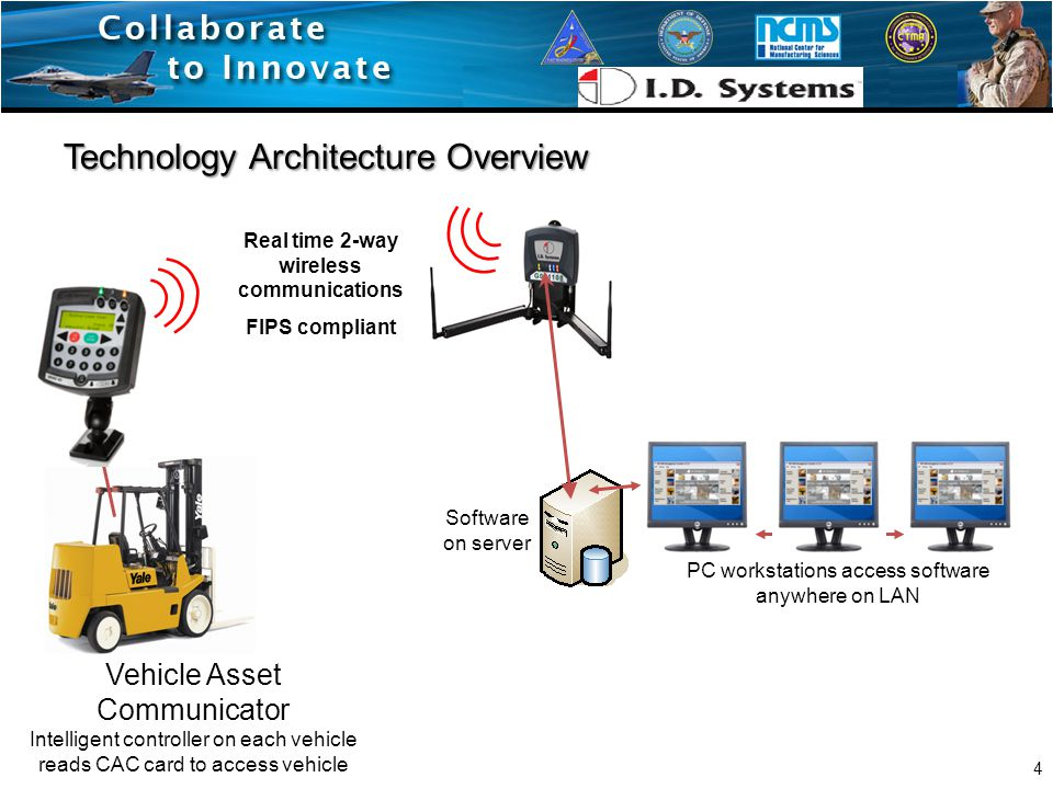 Vehicle Asset Communicator Intelligent controller on each vehicle reads CAC card to access vehicle Software on server Real time 2-way wireless communications FIPS compliant PC workstations access software anywhere on LAN Technology Architecture Overview 4