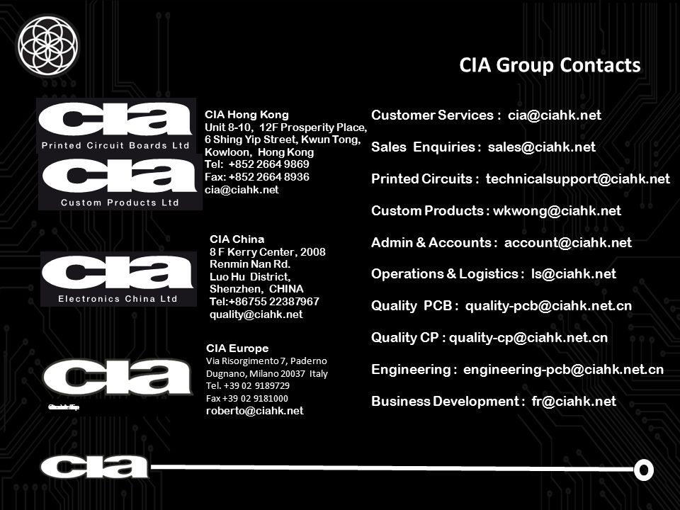Circuits Interconnection Assemblies Europe CIA Hong Kong Unit 8-10, 12F Prosperity Place, 6 Shing Yip Street, Kwun Tong, Kowloon, Hong Kong Tel: +852 2664 9869 Fax: +852 2664 8936 cia@ciahk.net CIA China 8 F Kerry Center, 2008 Renmin Nan Rd..
