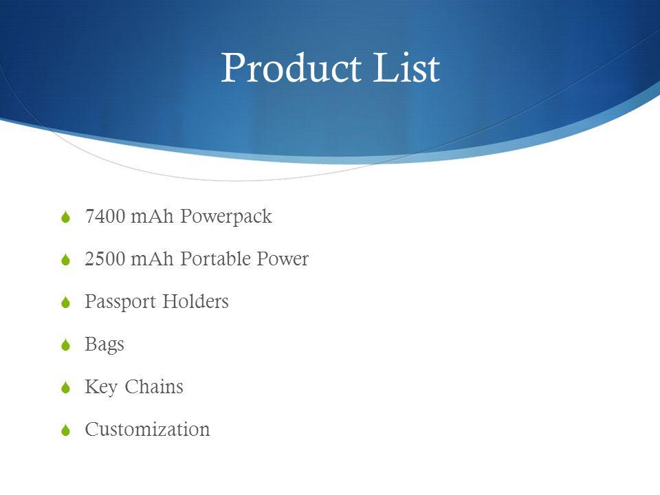 Product List  7400 mAh Powerpack  2500 mAh Portable Power  Passport Holders  Bags  Key Chains  Customization