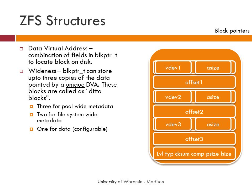 ZFS Structures University of Wisconsin - Madison  Data Virtual Address – combination of fields in blkptr_t to locate block on disk.  Wideness – blkp