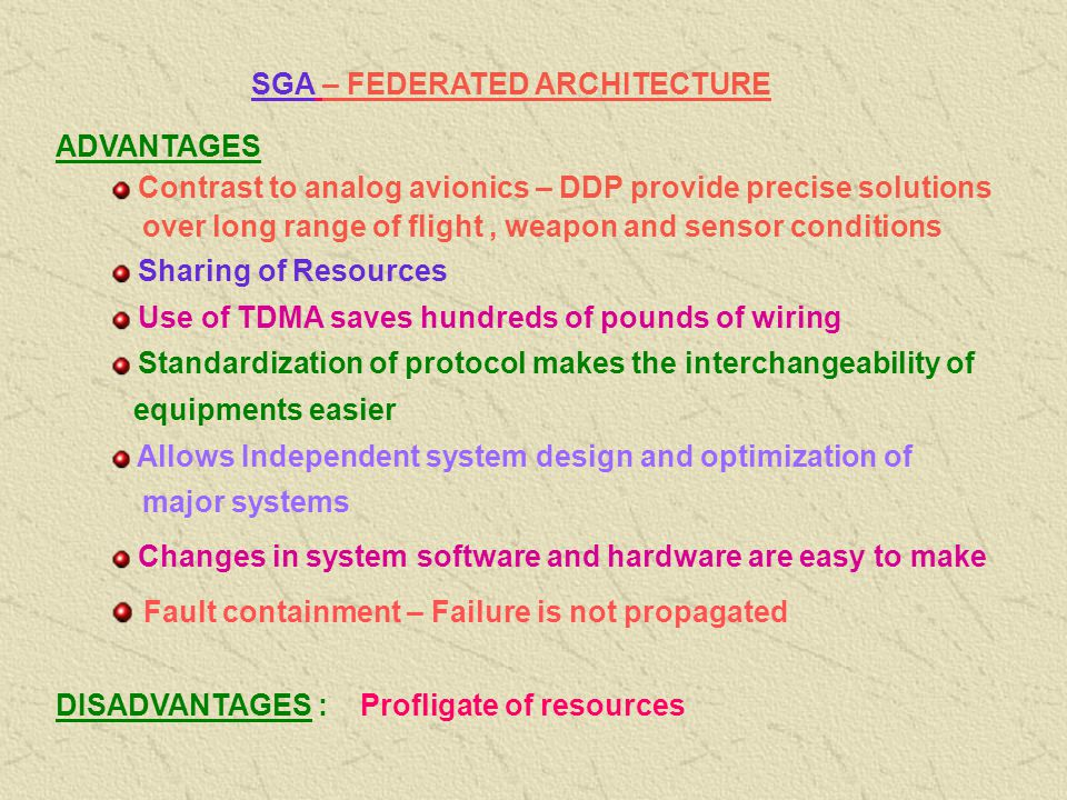 SGA – FEDERATED ARCHITECTURE Federated : Join together, Become partners Each system acts independently but united (Loosely Coupled) Unlike FGA – CA, D