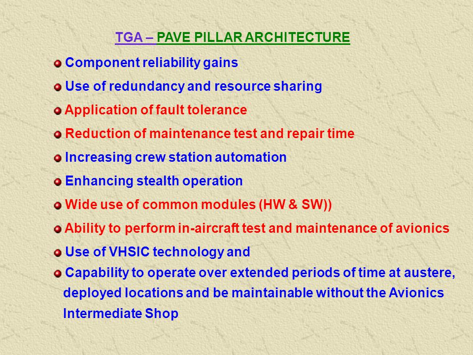 TGA - PAVE PILLAR PP Higher Sustainability Mission Effectiveness Lower LCC