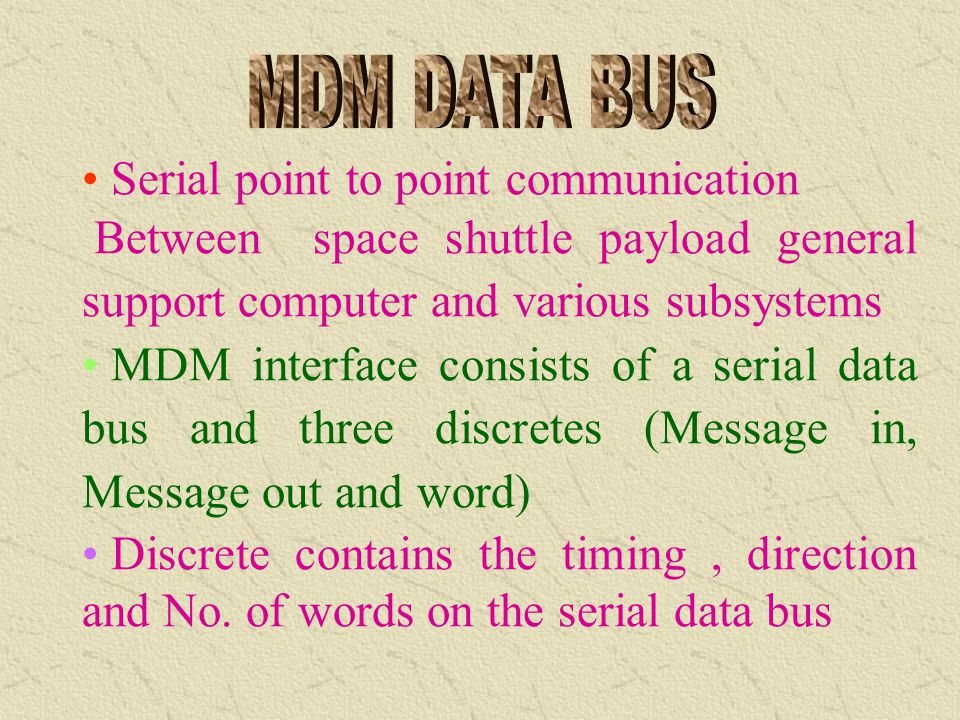 Command/response protocol 24 bit words(plus sync&parity) Same as to 1553 data bus in speed and biphase Manchester encoding Words are 24 bits long whil