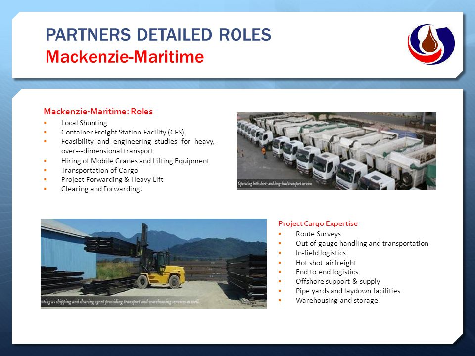 PARTNERS DETAILED ROLES Mackenzie-Maritime Mackenzie-Maritime: Roles  Local Shunting  Container Freight Station Facility (CFS),  Feasibility and en