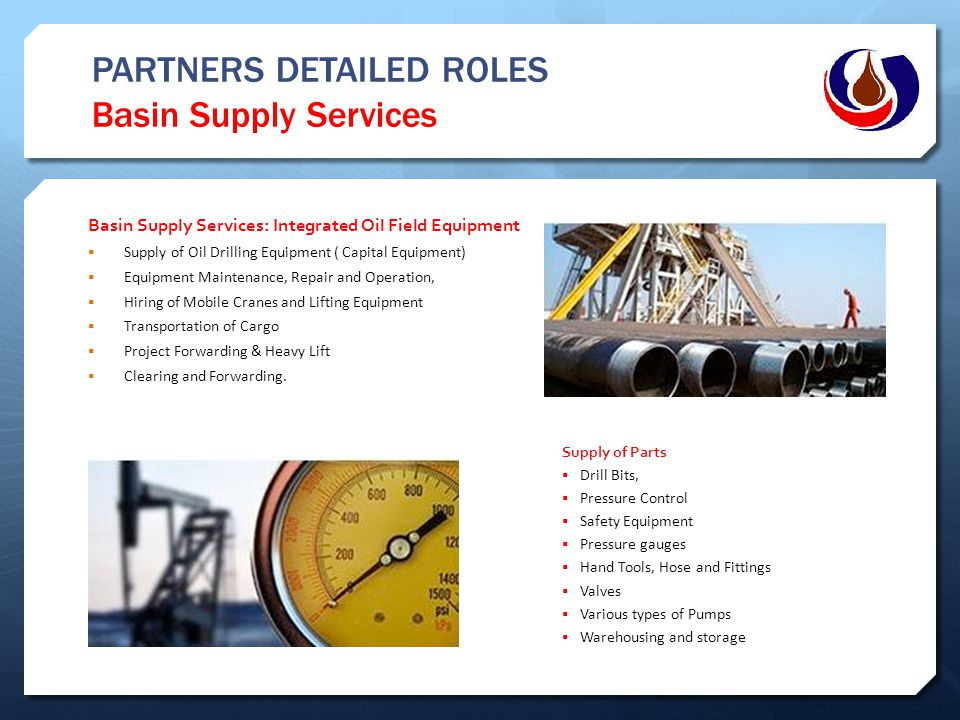 PARTNERS DETAILED ROLES Basin Supply Services Basin Supply Services: Integrated Oil Field Equipment  Supply of Oil Drilling Equipment ( Capital Equip