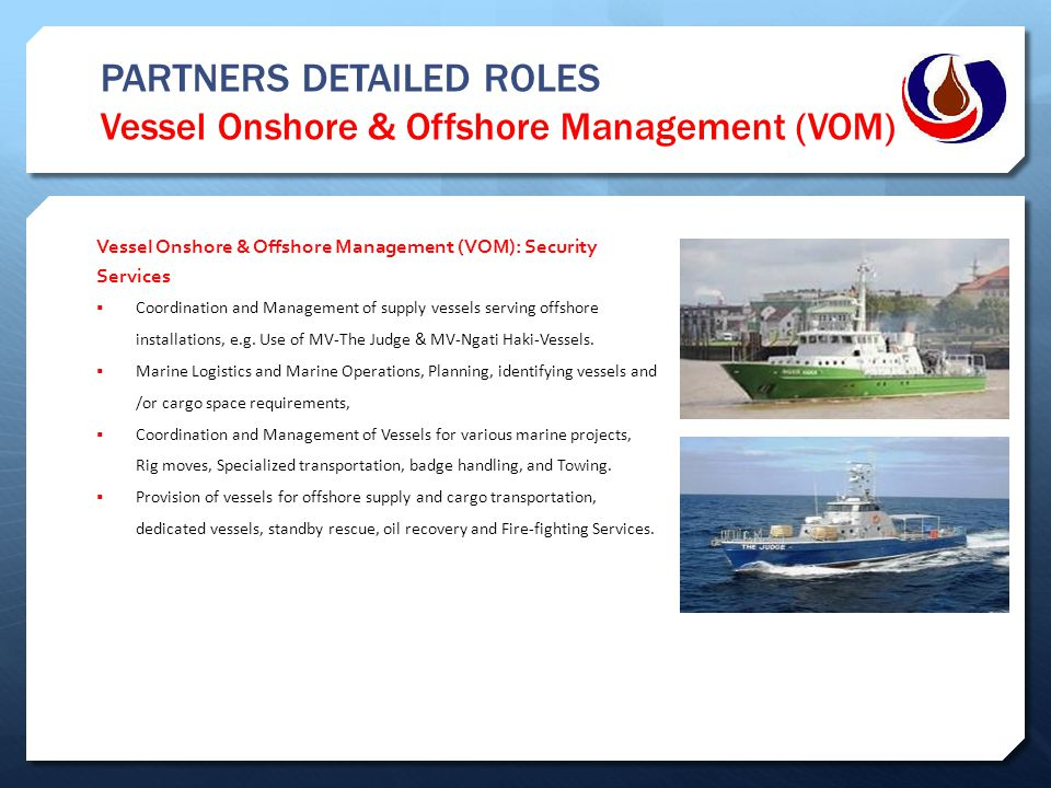 PARTNERS DETAILED ROLES Vessel Onshore & Offshore Management (VOM) Vessel Onshore & Offshore Management (VOM): Security Services  Coordination and Ma