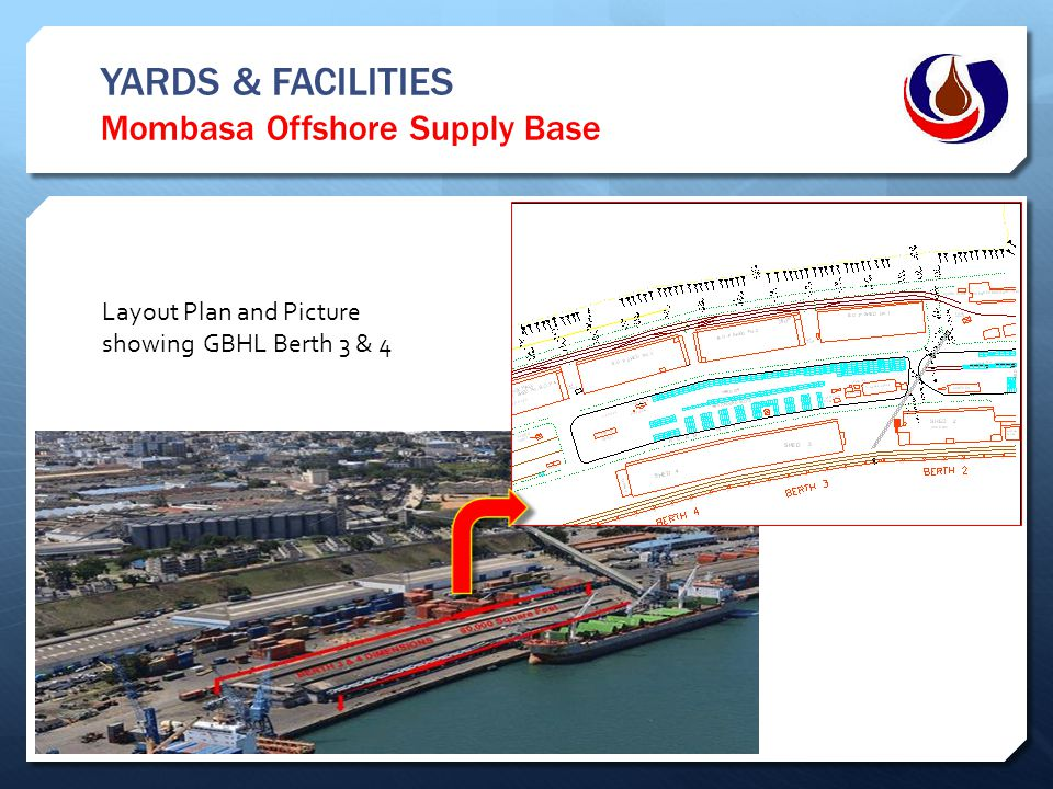 YARDS & FACILITIES Mombasa Offshore Supply Base Layout Plan and Picture showing GBHL Berth 3 & 4