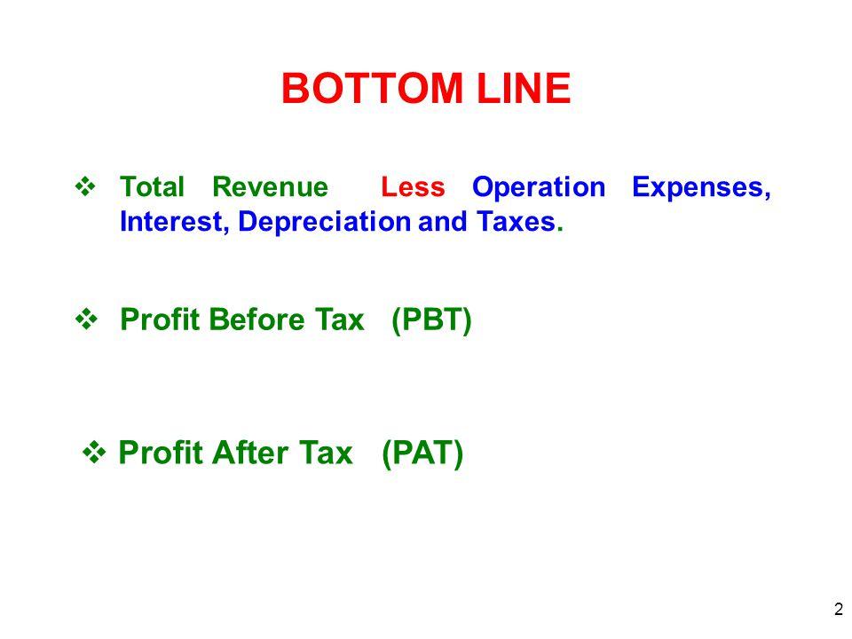2 BOTTOM LINE  Total Revenue Less Operation Expenses, Interest, Depreciation and Taxes.  Profit Before Tax (PBT)  Profit After Tax (PAT)