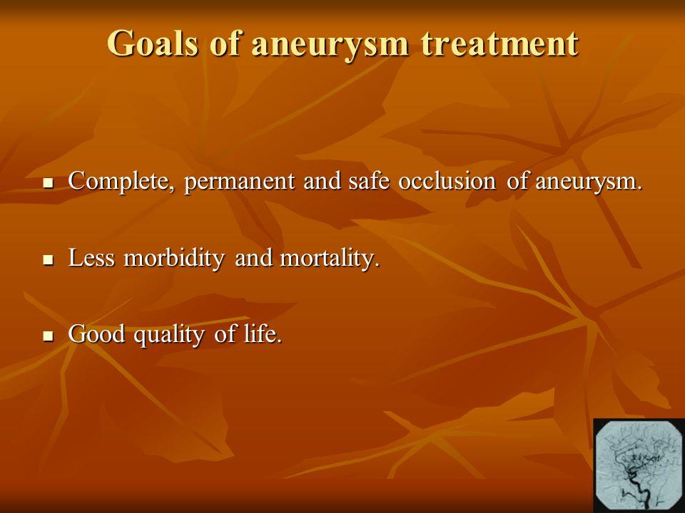 Goals of aneurysm treatment Complete, permanent and safe occlusion of aneurysm. Complete, permanent and safe occlusion of aneurysm. Less morbidity and