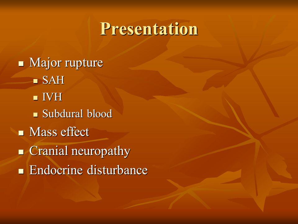 Presentation Major rupture Major rupture SAH SAH IVH IVH Subdural blood Subdural blood Mass effect Mass effect Cranial neuropathy Cranial neuropathy E