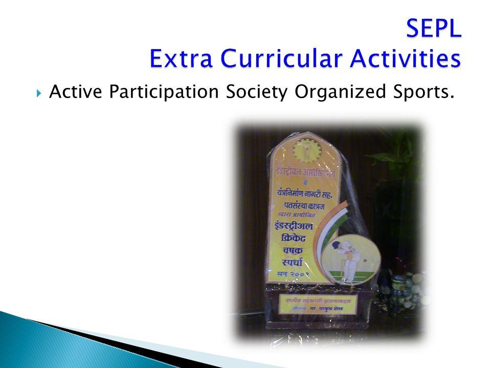  Active Participation Society Organized Sports.