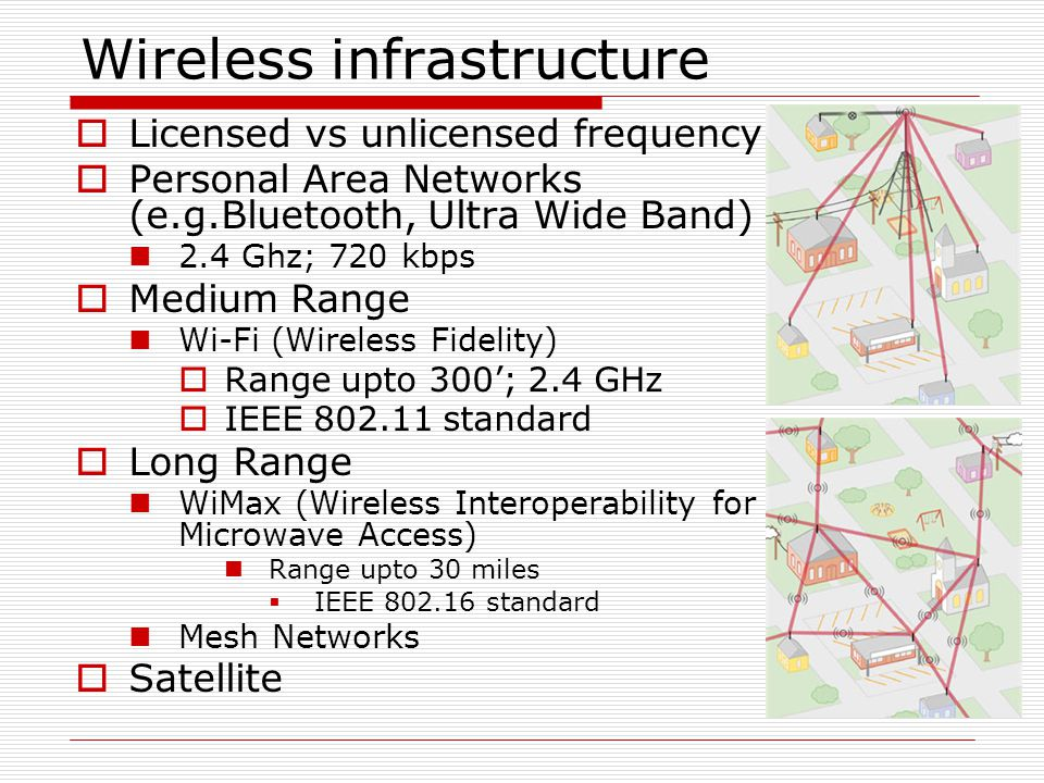 Wireless infrastructure  Licensed vs unlicensed frequency  Personal Area Networks (e.g.Bluetooth, Ultra Wide Band) 2.4 Ghz; 720 kbps  Medium Range Wi-Fi (Wireless Fidelity)  Range upto 300'; 2.4 GHz  IEEE 802.11 standard  Long Range WiMax (Wireless Interoperability for Microwave Access) Range upto 30 miles  IEEE 802.16 standard Mesh Networks  Satellite
