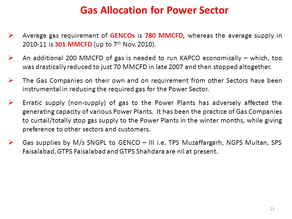 Gas Allocation for Power Sector  Average gas requirement of GENCOs is 780 MMCFD, whereas the average supply in 2010-11 is 301 MMCFD (up to 7 th Nov.
