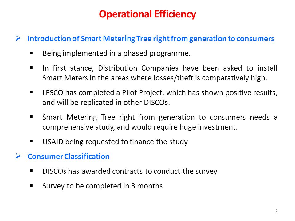 9  Introduction of Smart Metering Tree right from generation to consumers  Being implemented in a phased programme.