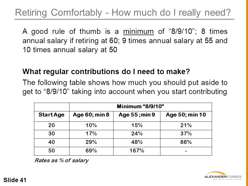 Slide 41 Retiring Comfortably - How much do I really need.