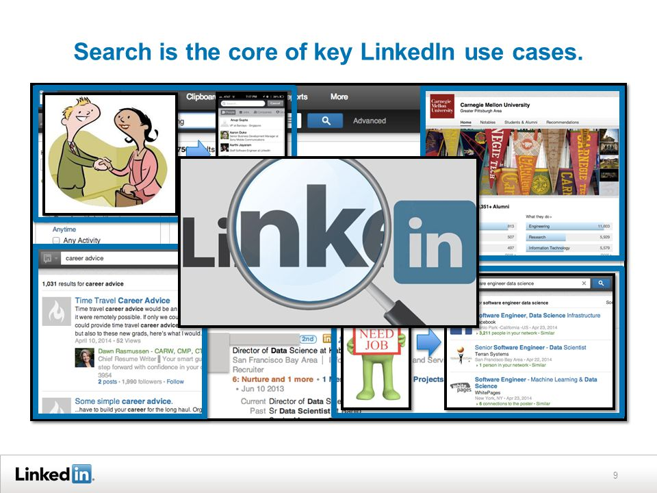 Search is the core of key LinkedIn use cases. 9