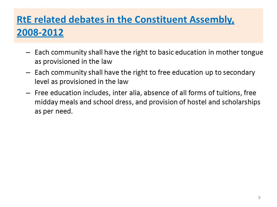RtE related debates in the Constituent Assembly, 2008-2012 – Each community shall have the right to basic education in mother tongue as provisioned in