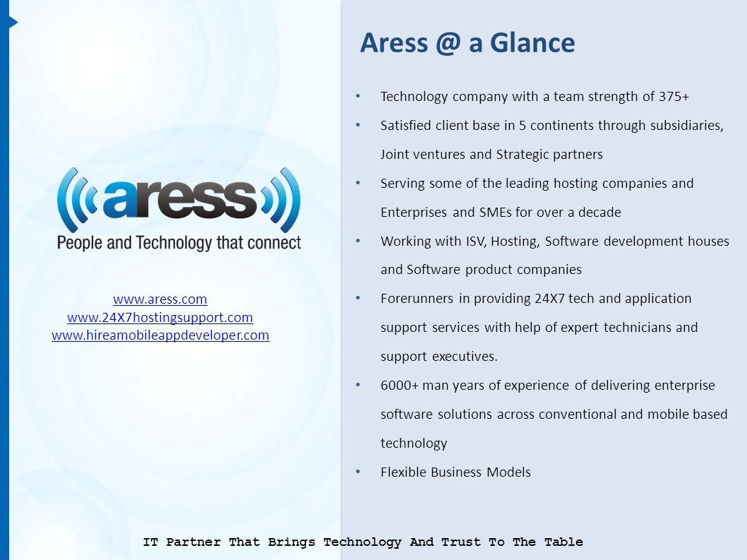 Aress @ a Glance Technology company with a team strength of 375+ Satisfied client base in 5 continents through subsidiaries, Joint ventures and Strategic partners Serving some of the leading hosting companies and Enterprises and SMEs for over a decade Working with ISV, Hosting, Software development houses and Software product companies Forerunners in providing 24X7 tech and application support services with help of expert technicians and support executives.