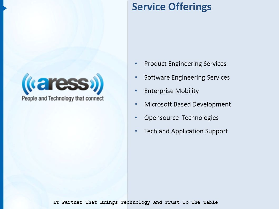 Service Offerings Product Engineering Services Software Engineering Services Enterprise Mobility Microsoft Based Development Opensource Technologies Tech and Application Support IT Partner That Brings Technology And Trust To The Table