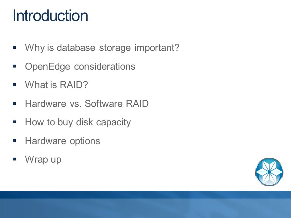 Introduction  Why is database storage important.  OpenEdge considerations  What is RAID.