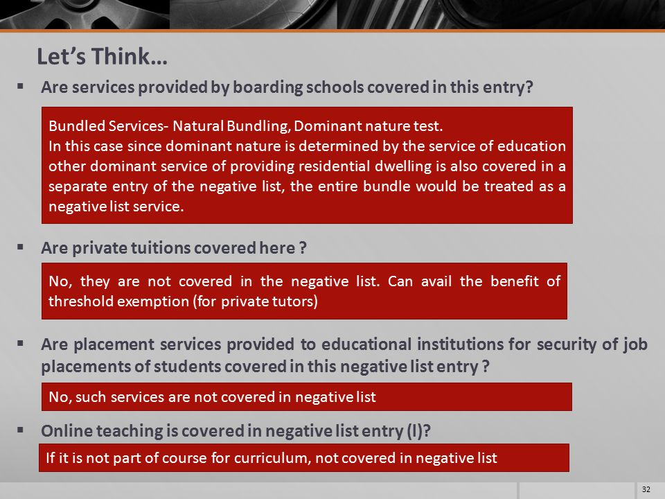 Let's Think…  Are services provided by boarding schools covered in this entry.