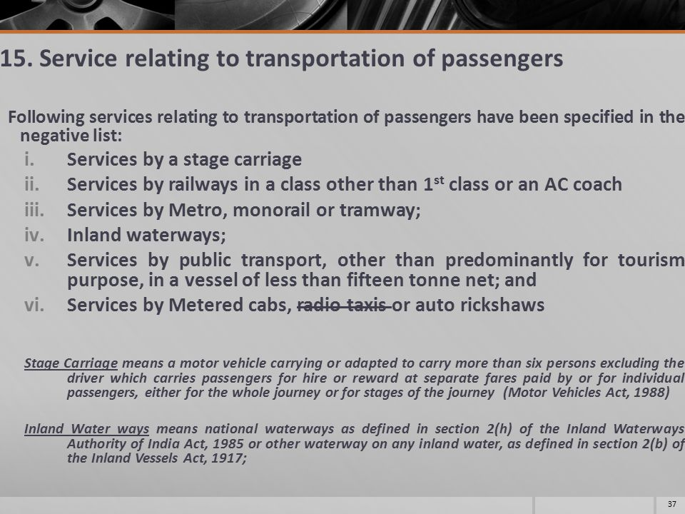15. Service relating to transportation of passengers Following services relating to transportation of passengers have been specified in the negative l