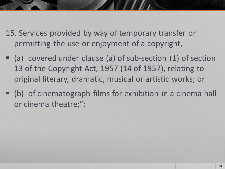 15. Services provided by way of temporary transfer or permitting the use or enjoyment of a copyright,-  (a)covered under clause (a) of sub-section (1