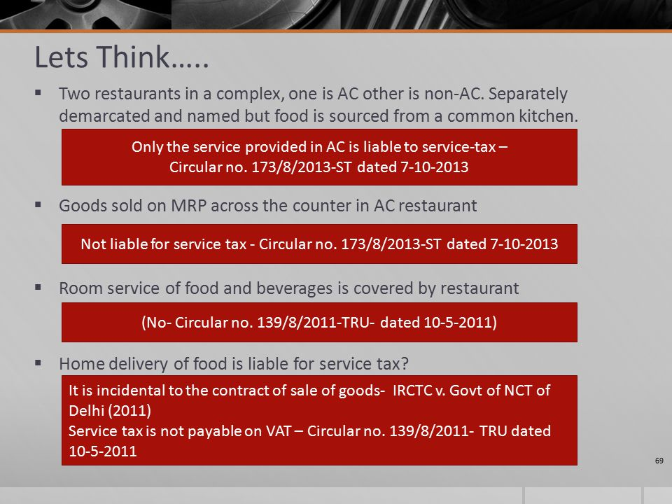 Lets Think…..  Two restaurants in a complex, one is AC other is non-AC.