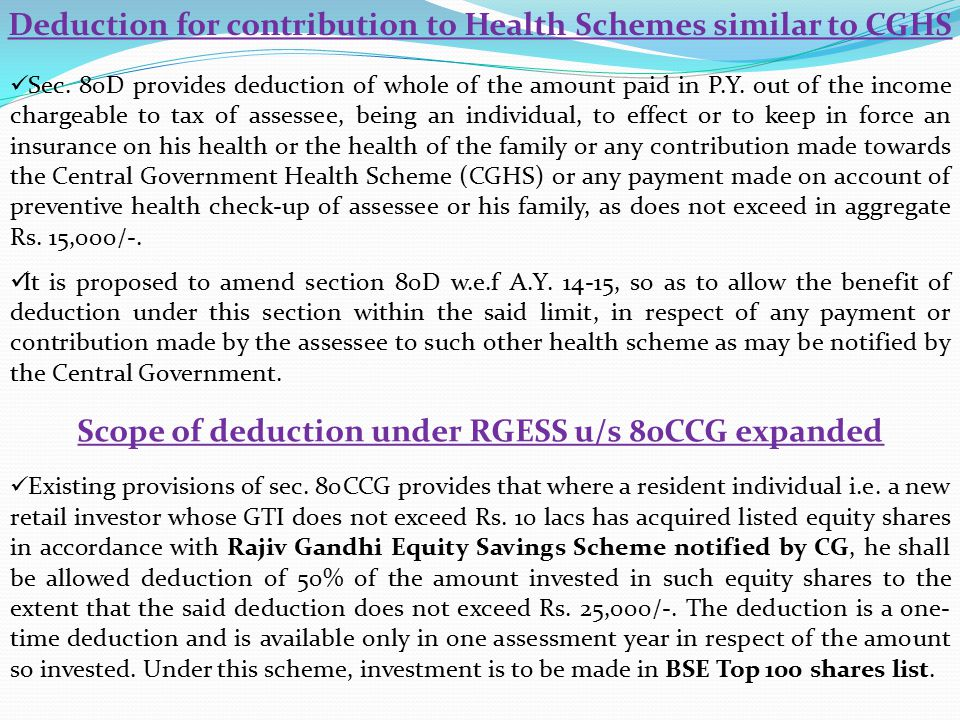 Deduction for contribution to Health Schemes similar to CGHS Sec.