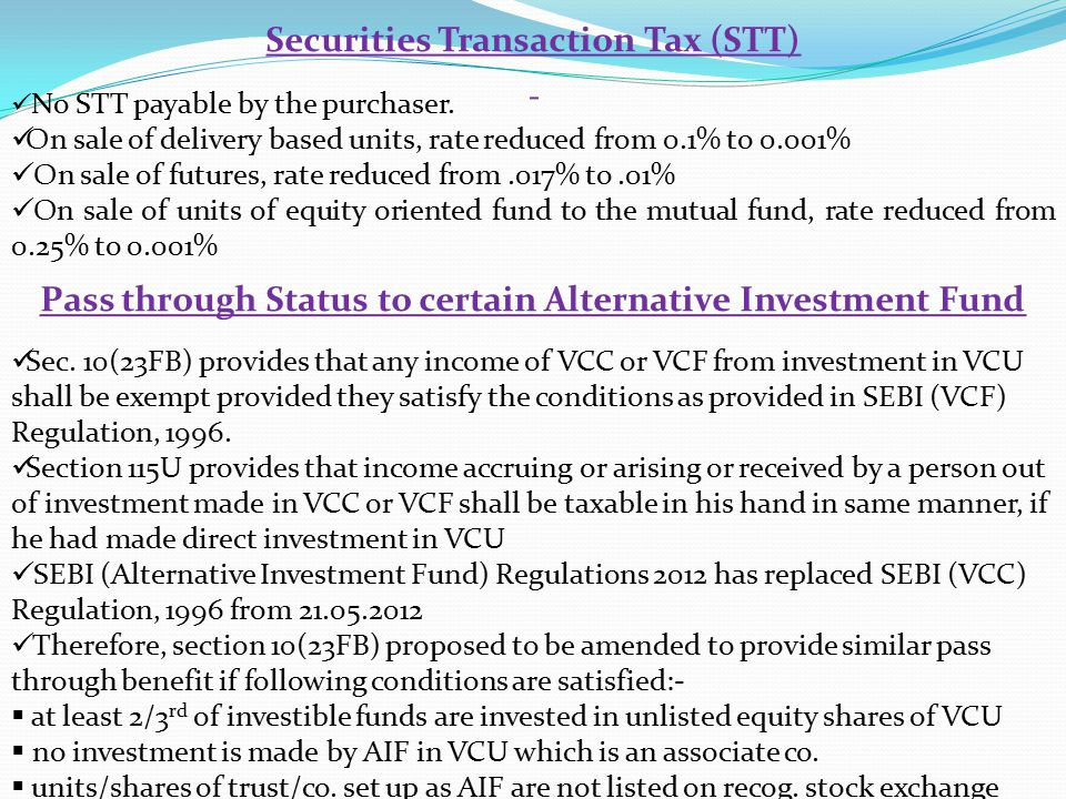Securities Transaction Tax (STT) No STT payable by the purchaser.