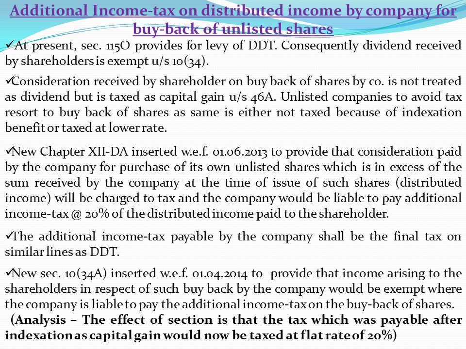 Additional Income-tax on distributed income by company for buy-back of unlisted shares At present, sec.