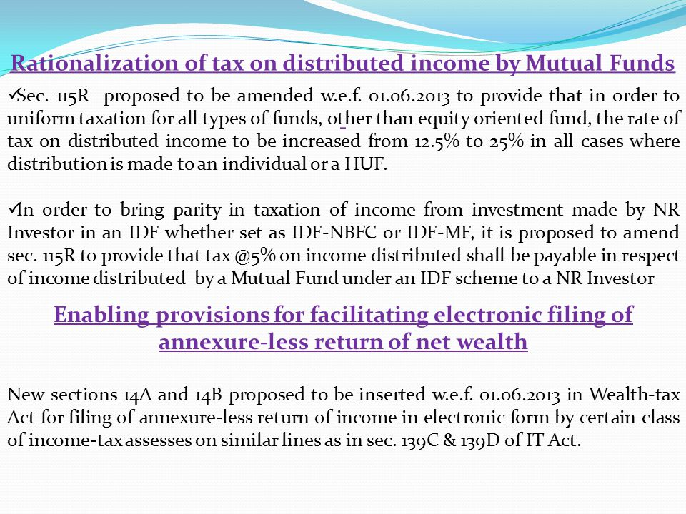 Rationalization of tax on distributed income by Mutual Funds Sec.