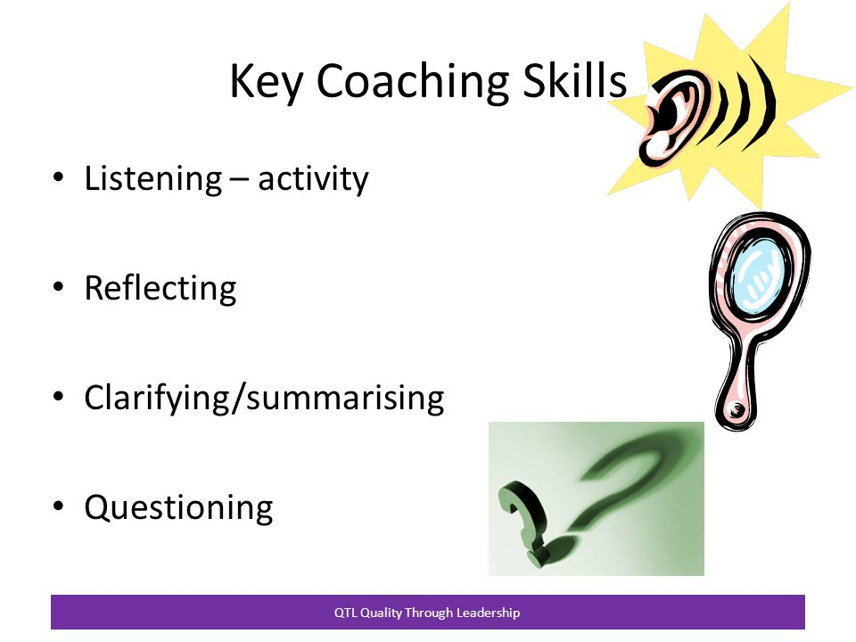 QTL Quality Through Leadership Key Coaching Skills Listening – activity Reflecting Clarifying/summarising Questioning