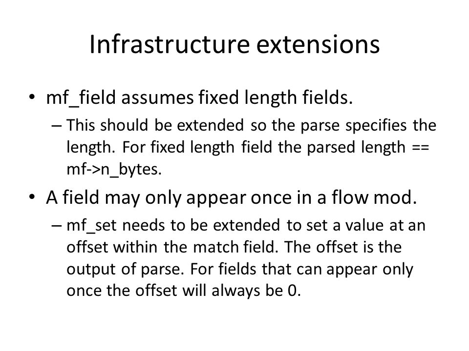 Infrastructure extensions mf_field assumes fixed length fields.