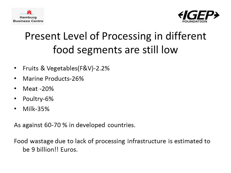 Present Level of Processing in different food segments are still low Fruits & Vegetables(F&V)-2.2% Marine Products-26% Meat -20% Poultry-6% Milk-35% As against 60-70 % in developed countries.