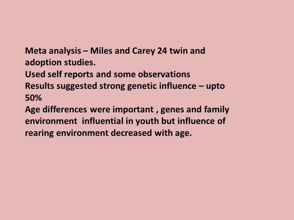 Meta analysis – Miles and Carey 24 twin and adoption studies.