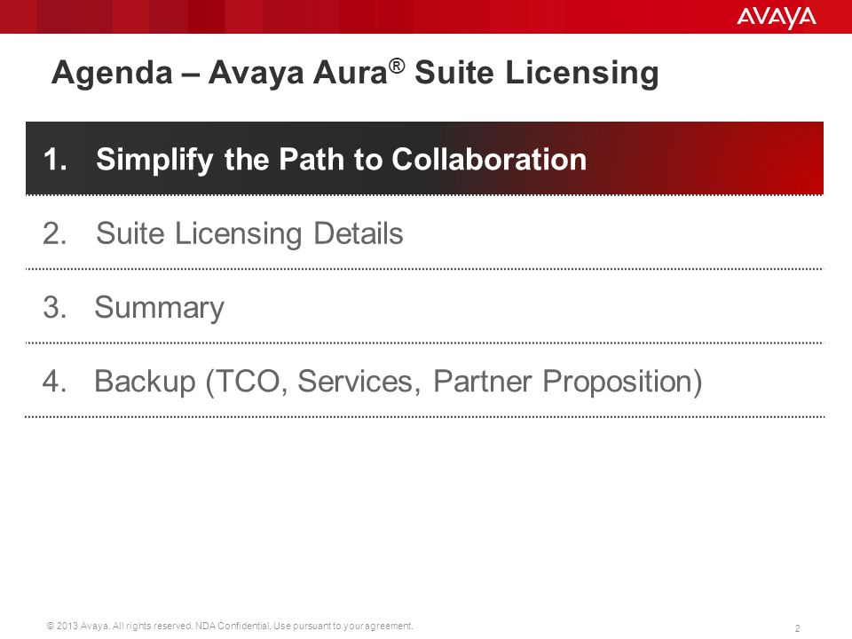 © 2013 Avaya. All rights reserved. NDA Confidential, Use pursuant to your agreement. 2 Agenda – Avaya Aura ® Suite Licensing 1.Simplify the Path to Co