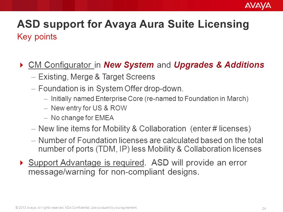 © 2013 Avaya. All rights reserved. NDA Confidential, Use pursuant to your agreement. 24 ASD support for Avaya Aura Suite Licensing  CM Configurator i