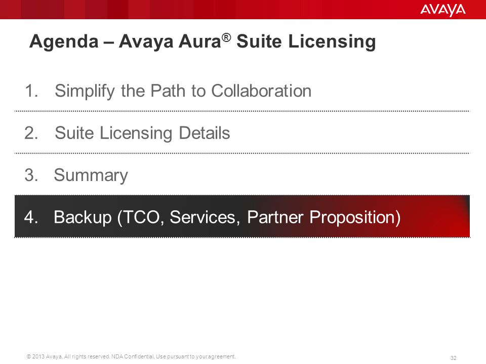 © 2013 Avaya. All rights reserved. NDA Confidential, Use pursuant to your agreement. 32 Agenda – Avaya Aura ® Suite Licensing 1.Simplify the Path to C