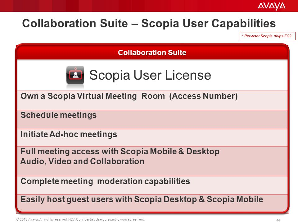 © 2013 Avaya. All rights reserved. NDA Confidential, Use pursuant to your agreement. 44 Scopia User License Own a Scopia Virtual Meeting Room (Access