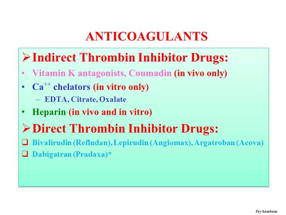 Anticoagulants: Direct & indirect antithrombin drugs Anticoagulants: Direct & indirect antithrombin drugs Jay kambam