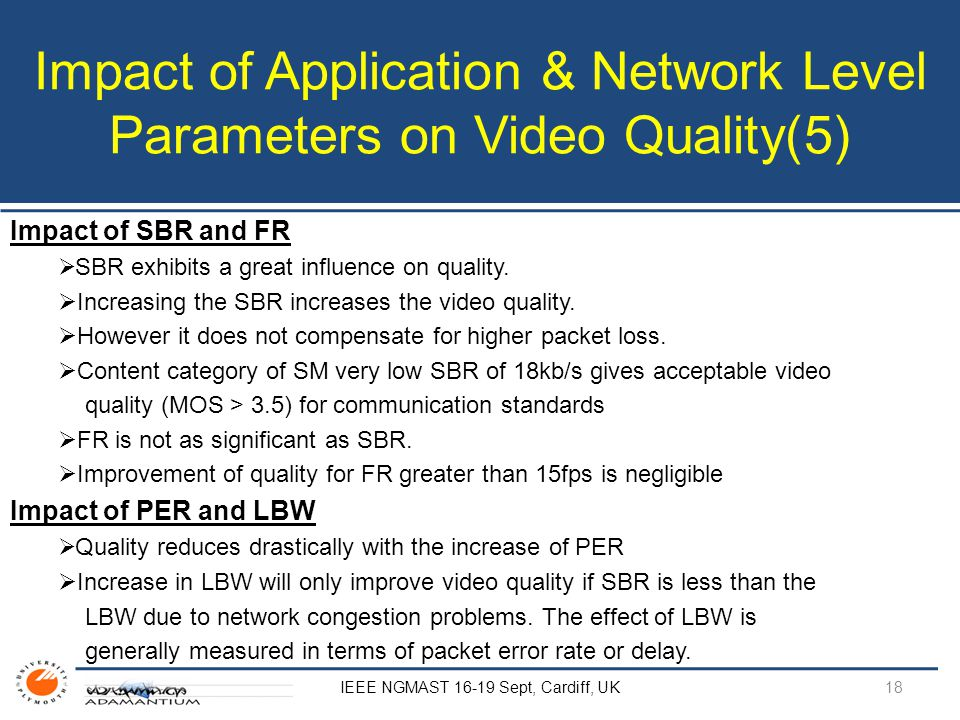 Impact of Application & Network Level Parameters on Video Quality(5) IEEE NGMAST 16-19 Sept, Cardiff, UK Impact of SBR and FR  SBR exhibits a great influence on quality.