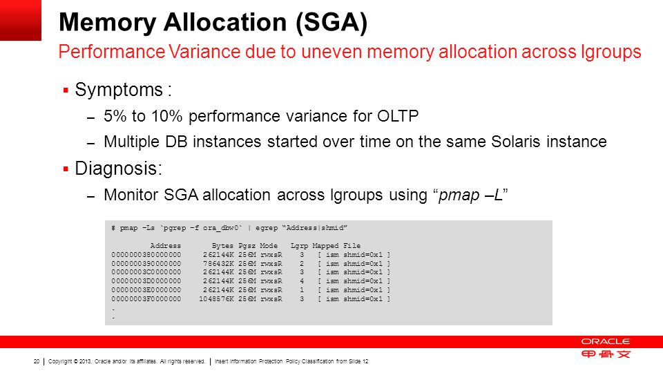 Copyright © 2013, Oracle and/or its affiliates. All rights reserved. Insert Information Protection Policy Classification from Slide 12 20 Memory Alloc