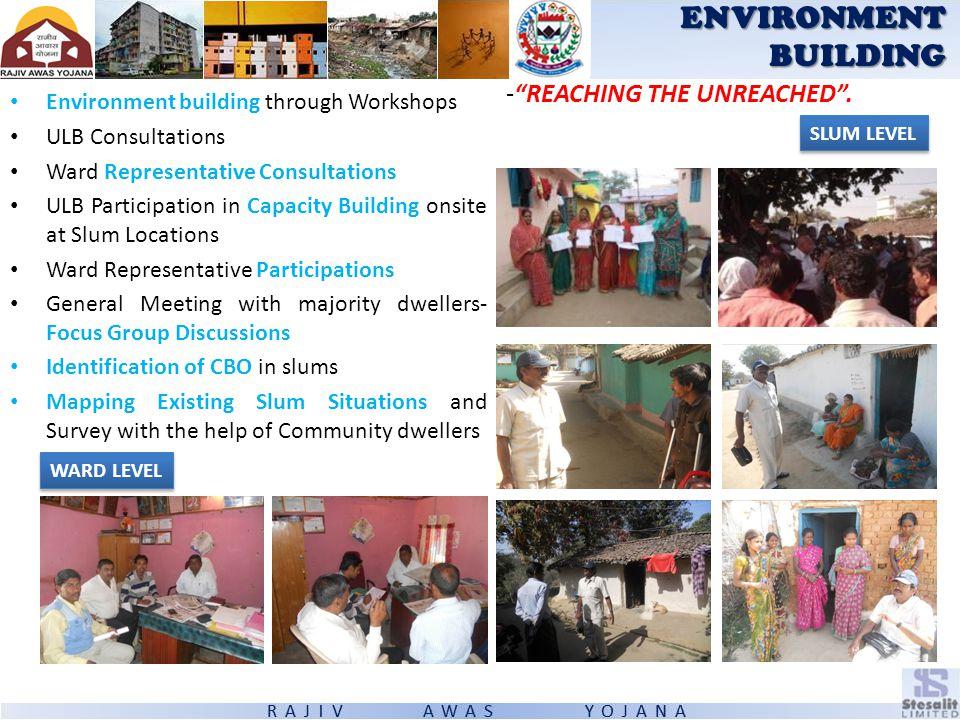 Environment building through Workshops ULB Consultations Ward Representative Consultations ULB Participation in Capacity Building onsite at Slum Locat