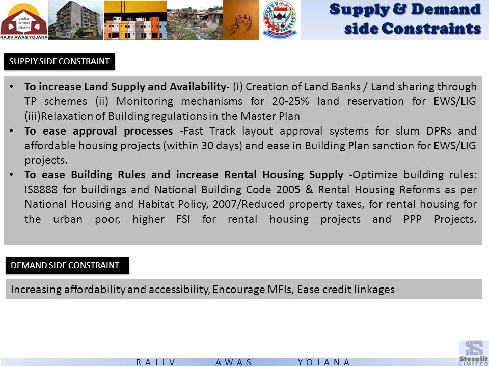 SUPPLY SIDE CONSTRAINT Supply & Demand side Constraints To increase Land Supply and Availability- (i) Creation of Land Banks / Land sharing through TP