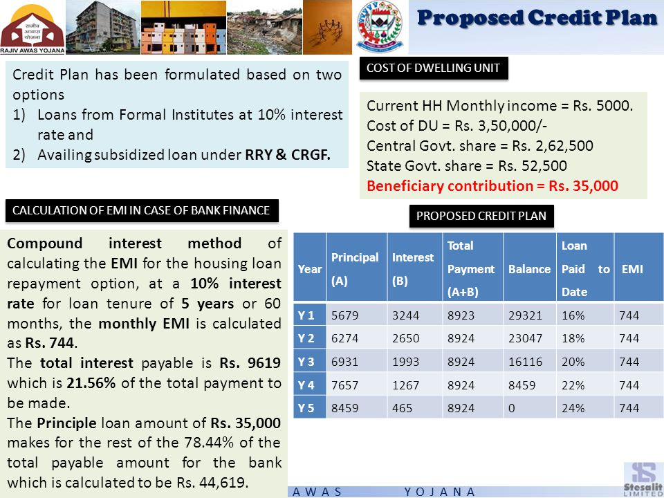 Proposed Credit Plan Credit Plan has been formulated based on two options 1)Loans from Formal Institutes at 10% interest rate and 2)Availing subsidize
