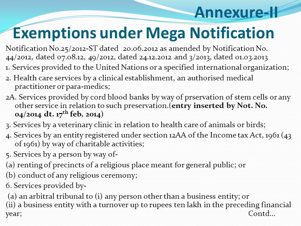 Annexure-II Exemptions under Mega Notification Notification No.25/2012-ST dated 20.06.2012 as amended by Notification No.